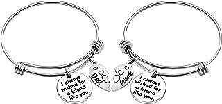 Best Friend Bracelets for 2, Bracelets Bangles for Women with Broken Heart Pendant Birthday Gifts