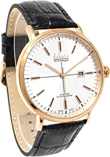 Dakota Vintage Style 42mm Slim Fit 100ft Water Resistant Watch with Imitation Croc Genuine Leather Band