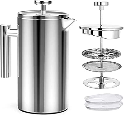 Coffee Maker, French Press Coffee Maker, 8 Cups 34Oz Double-Wall Metal Insulated Coffee Tea Makers,Rust-Free, Dishwasher Safe (Color : Silver)