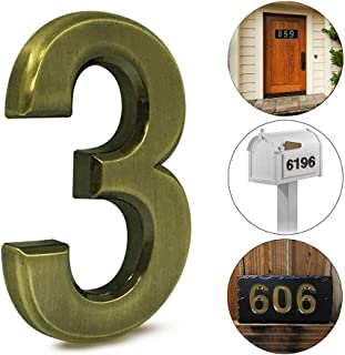2 pcs Mailbox Numbers 3,3D Brass Metal Self-Stick Door House Numbers,Street Address Plaques Numbers for Residence and Mailbox Signs,2-3/4 Inch