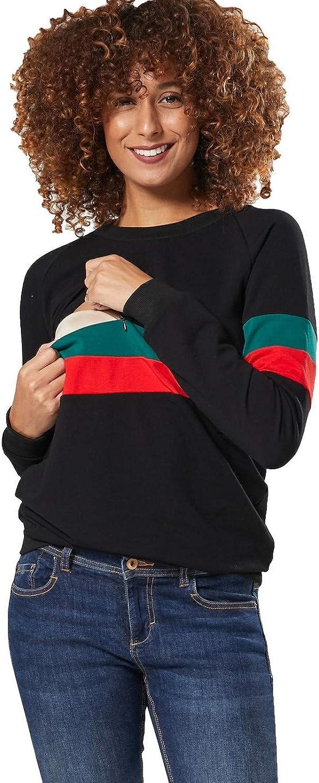 Zeta Ville Womens Maternity Nursing Zipped Sweatshirt Striped Jumper 1110