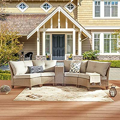 PatioFestival 5 Piece Outdoor Patio Furniture Sofa Set, Half-Moon Wicker Ratten Sectional Sofa Set Patio Conversation Set with Seat Cushions and Coffee Table
