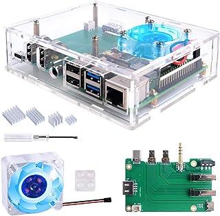 GeeekPi Acrylic Raspberry Pi Set-top Box Kit,Raspberry Pi 4 Case with 4010 Fan 5V (Blue LED Light) + Raspberry Pi 4 Heatsi...