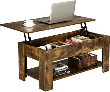 YAHEETECH Rustic Lift Top Coffee Table w/Hidden Compartment & Storage Space - Lift Tabletop for Living Room Furniture, Rustic