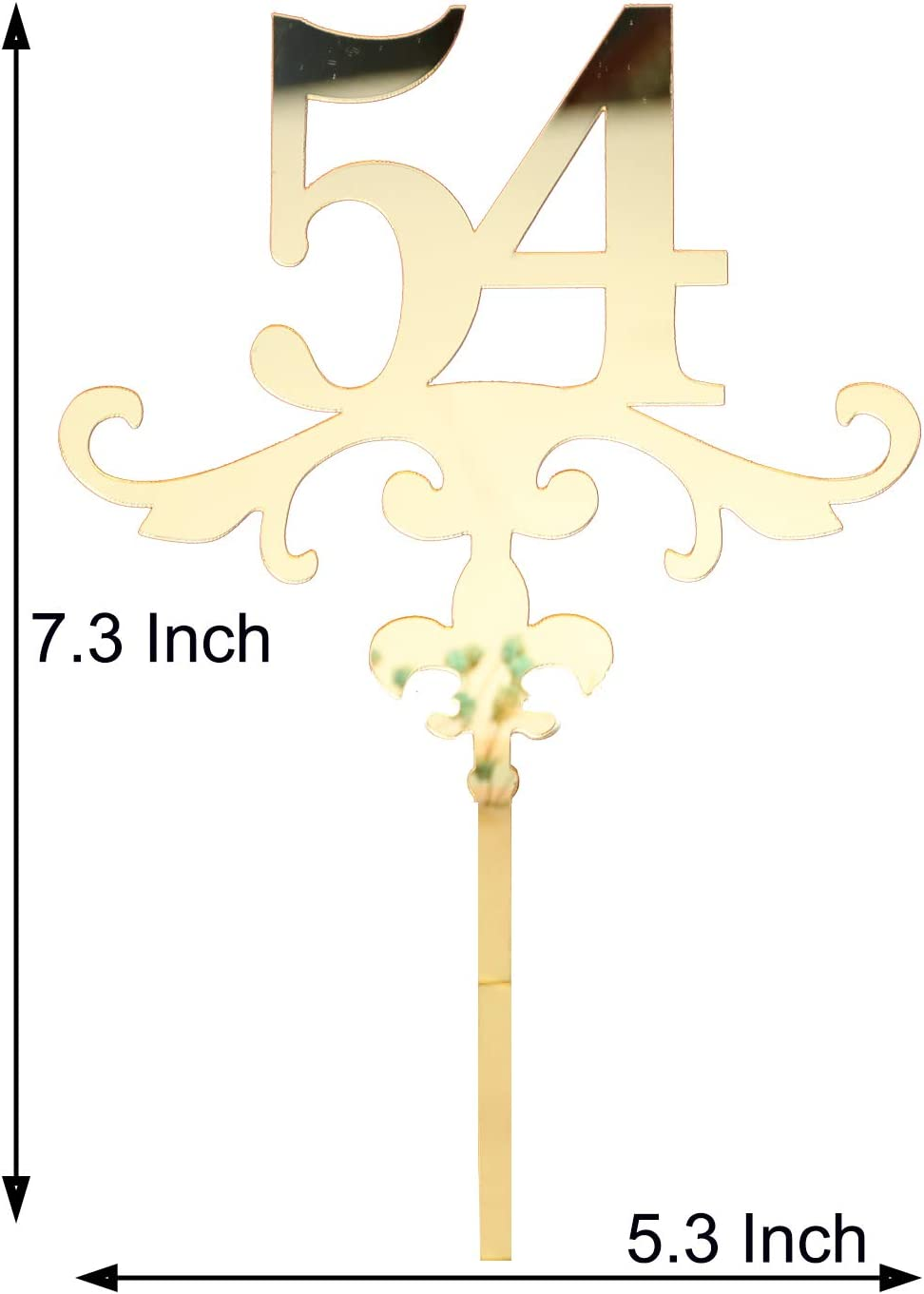 Acrylic Cake Topper Mirror Gold Number 51 Cake Topper Ideal for 51th Birthday or Anniversary Celebration