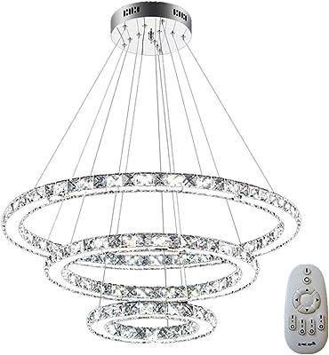 Moderne Ronde Suspension Suspendu Cristal Led Lustres Luminaire 4 kZiTXOPwu