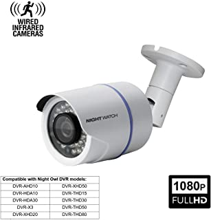 Night Watch Security 1 Pack Analog HD 1080p Wired Bullet Camera (White, Camera Only, Compatible with Night Owl DVRs)