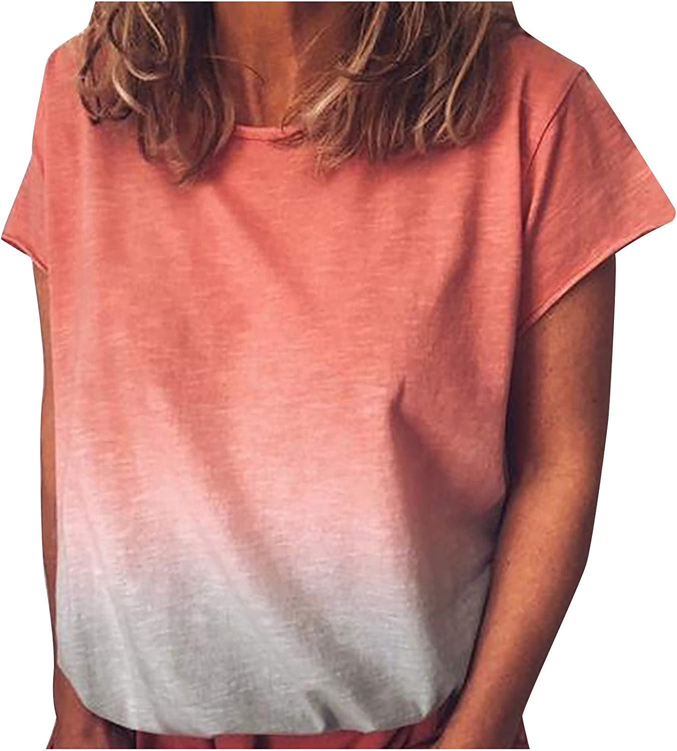 Tops for Women Gradient Color Short Sleeve T-Shirt Summer Plus Size Comfy Tunic Round Neck Basic Blouse