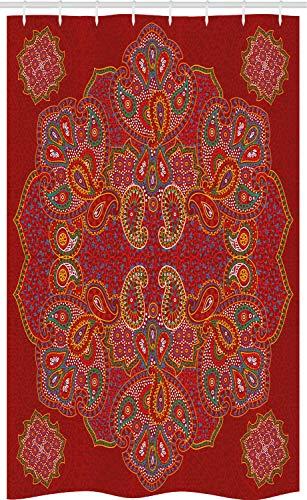 ABAKUHAUS Red Mandala Schmaler Duschvorhang, Persischer Paisley, Badezimmer Deko Set aus Stoff mit Haken, 120 x 180 cm, Bordeauxrot Weiß & Blau