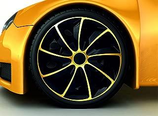 NRM Action 4 x Copriruota Universale Coprimozzi Set di 4 Set Car Pollici Bianco-Nero, 15