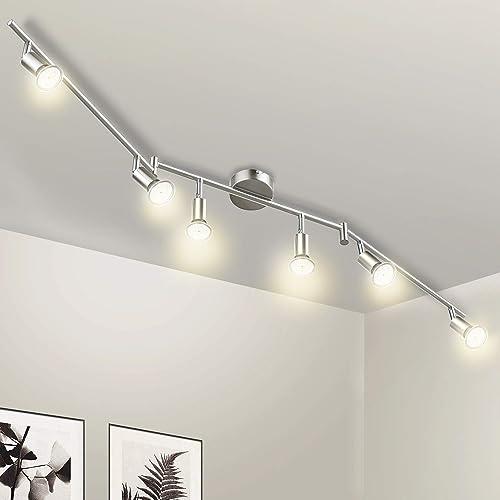 Plafonnier 6 Spots LED Orientable, Wowatt Luminaire Plafonnier LED GU10 5W Blanc Chaud 2800K Applique Plafond 420Lm L...