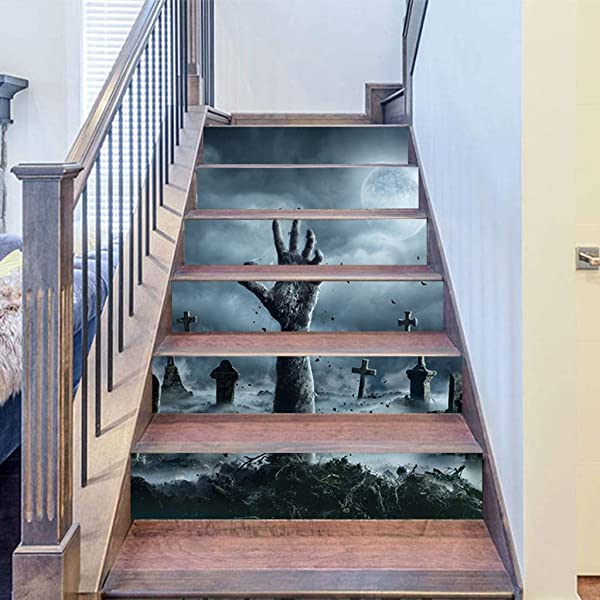 Retrofish Halloween Decoration Stair Riser Decals Crow Tombstone Staircase Tile Sticker Waterproof Wall Sticker Decorative Home Mural Decals 6pcs