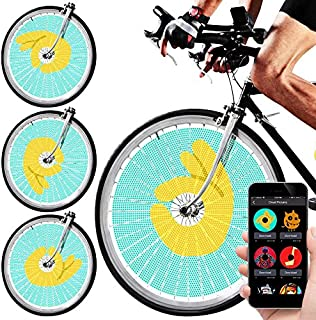 Swagtron SWAGLIGHT Bike Spoke Lights w/Mobile App & Theft Alarm - Bicycle Spoke Safety Light, Ultra-Vivid LED Bulbs, 16 Million Colors; Display Custom Images & GIFS Using Your iPhone or Android
