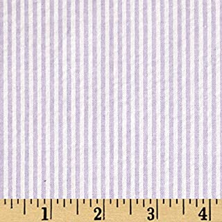 Richland Textiles Cotton Seersucker Stripe Fabric, Lavender/White, Fabric by the yard
