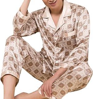 Keaac メンズラグジュアリーロングスリーブラペルサテンシルク印刷パジャマセットのように