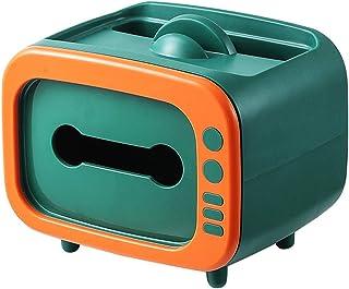 Dekori ティッシュケース ティッシュボックス 卓上収納ケース 2 In 1デスクトップペーパーホルダー 化粧品収納 小物入れ リモコンラック 仕分け収納 多機能収納 可愛い キッチン用 浴室用 レストラン 事務室 車内用 オレンジ