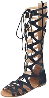 Malbaba Womens Cut Out Gladiator Sandals Flat Knee Boots Strappy Shoes Black