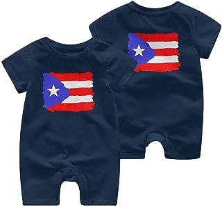 Ives Jean Baby ärmellose Bodysuits Puerto Rico Flag-1 Neugeborene Kinder Kurzarm Strampler Jumpsuit Babykleidung 0-24 Monate