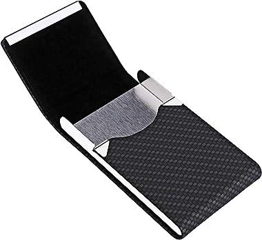 Business Card Holder, Metal Business Card Case Pocket, Card Holder for Women & Men, Professional PU Leather Business Card