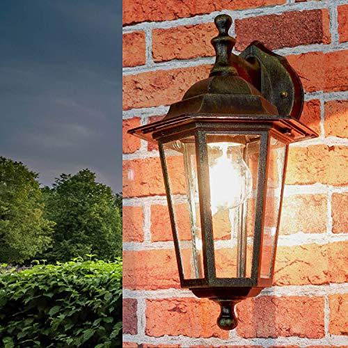 Rustikale Außenwandlampe Außenwandleuchte Gold Antik Glas Aluminium E27 Beleuchtung Balkon Hof Garten