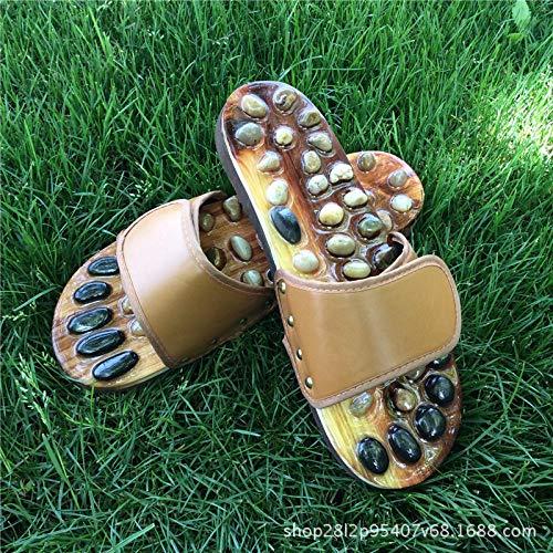 wenhua Sandalias de Punta Descubierta,Zapatillas de Masaje de Masaje de pie de Jade con Piedras de ágata-Brown_44Zapatos de Playa y Piscina
