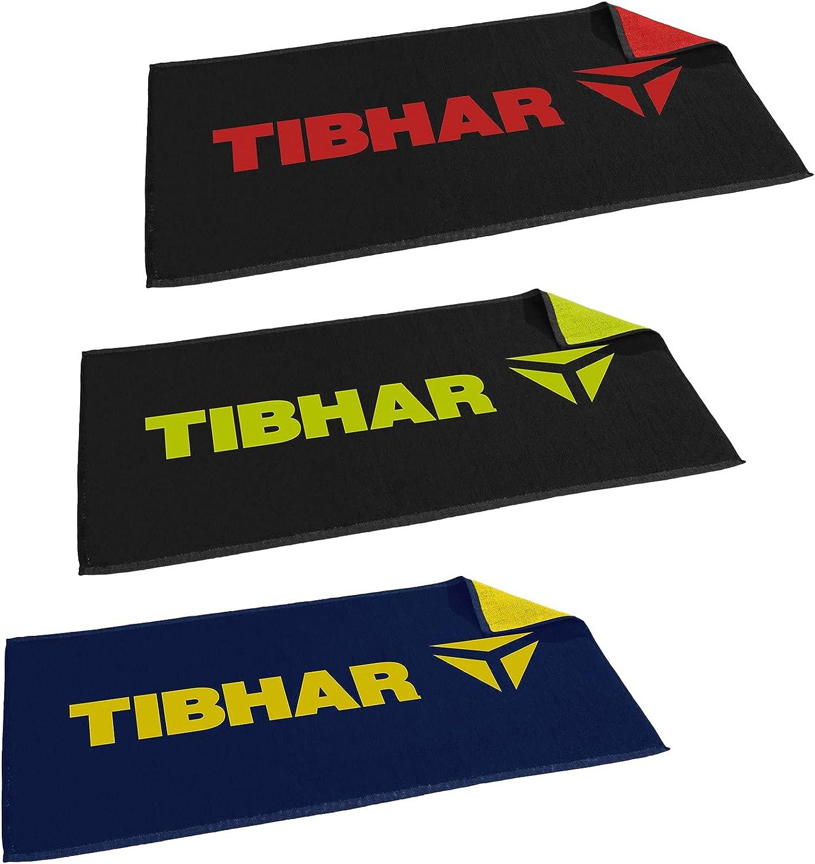 Tibhar Toalla de ping pong en T, con nuevo logotipo, 50 x 100 cm, color azul marino, amarillo y negro, verde