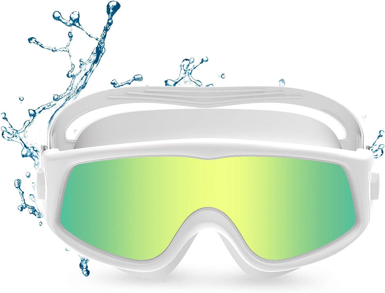 Funní Día Gafas de natación de visión panorámica, antivaho, protección UV, Gafas Natacion para adultos, hombre, mujer, jóvenes, adolescentes