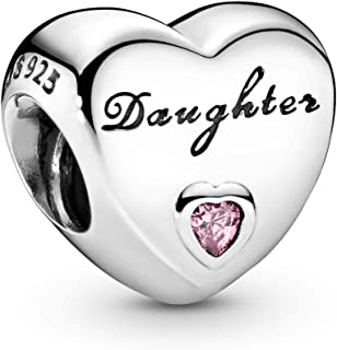 Pandora Jewelry - Daughter's Love Charm in Sterling Silver with Pink Cubic Zirconia