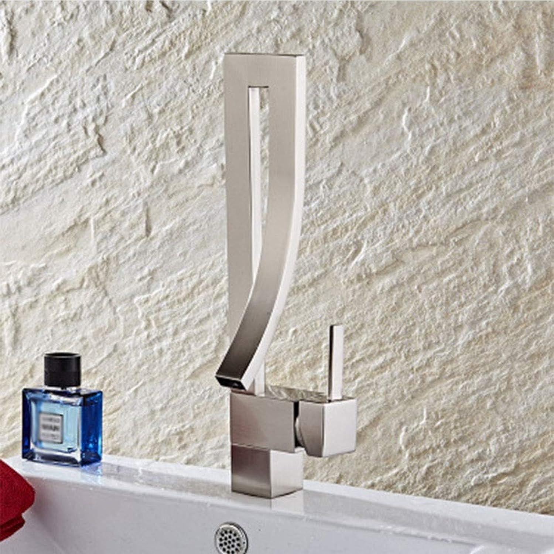 Fengkuo Bad Waschbecken Gebürstet Heien Und Kalten Wasserhahn Kreatives Konzept Mode Wasserhahn Ventilsitz Durchmesser 35mm Ausreichender Wasserdurchfluss