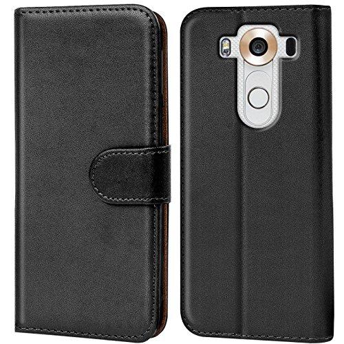 Verco V10 Hülle, Handyhülle für LG V10 Tasche PU Leder Flip Hülle Brieftasche - Schwarz