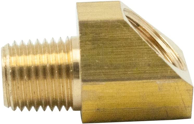 SAE 45 Degree Flare Adapter Union Pack of 2 Legines Brass Tube Fitting 1//4 Flare Male to 3//8 NPT Male