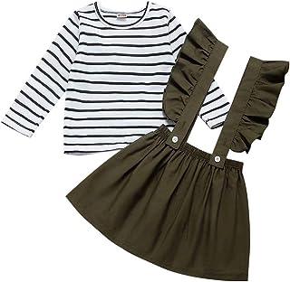 FUTERLY Skirts Set Toddler Ruffle Strap Skirt + Long Sleeve T-Shirt Tops Perfect for 1-6T Girls (Green&Stripe, 2-3 T)
