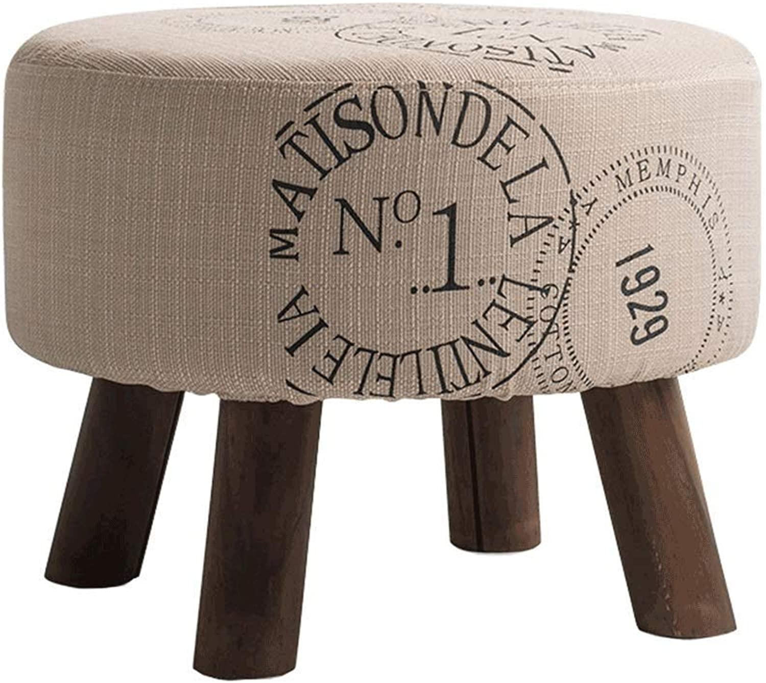 Solid Wood Round Footstool Dressing Stool Makeup Stool Multi-Function Stool Replacement shoes Bench
