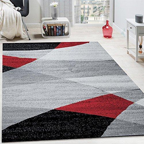 Alfombra Salón, Motivos Modernos, Pelo Corto Atemporal con Diseño Geométrico, tamaño:120x170 cm, Color:Rojo