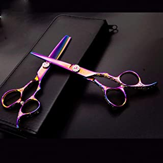 Professional Barber 6 Inch Hairdresser Professional Haircut Flat + Tooth Scissors Set, Colorful Carved Haircut Tool Set Sc...