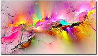 gold mi Colorful Aurora Printed Canvas Painting for Living Room Wall Decor Modern Home Decorative Pictures Abstract Canvas Painting Framed Easy to Hang (Red, 20x40inch)