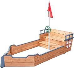 EnjoyShop Kids Pirate Wooden Boat Sandbox with Bench and Flag Fully Adjustable Sand Depth
