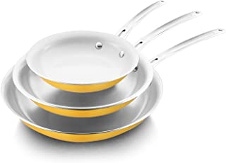 HXTXB Ceramic Non-stick Frying Pan Set 20/26/30CM Cookware Set 7 Colors To Choose From, Suitable For Oven And Dishwasher A...