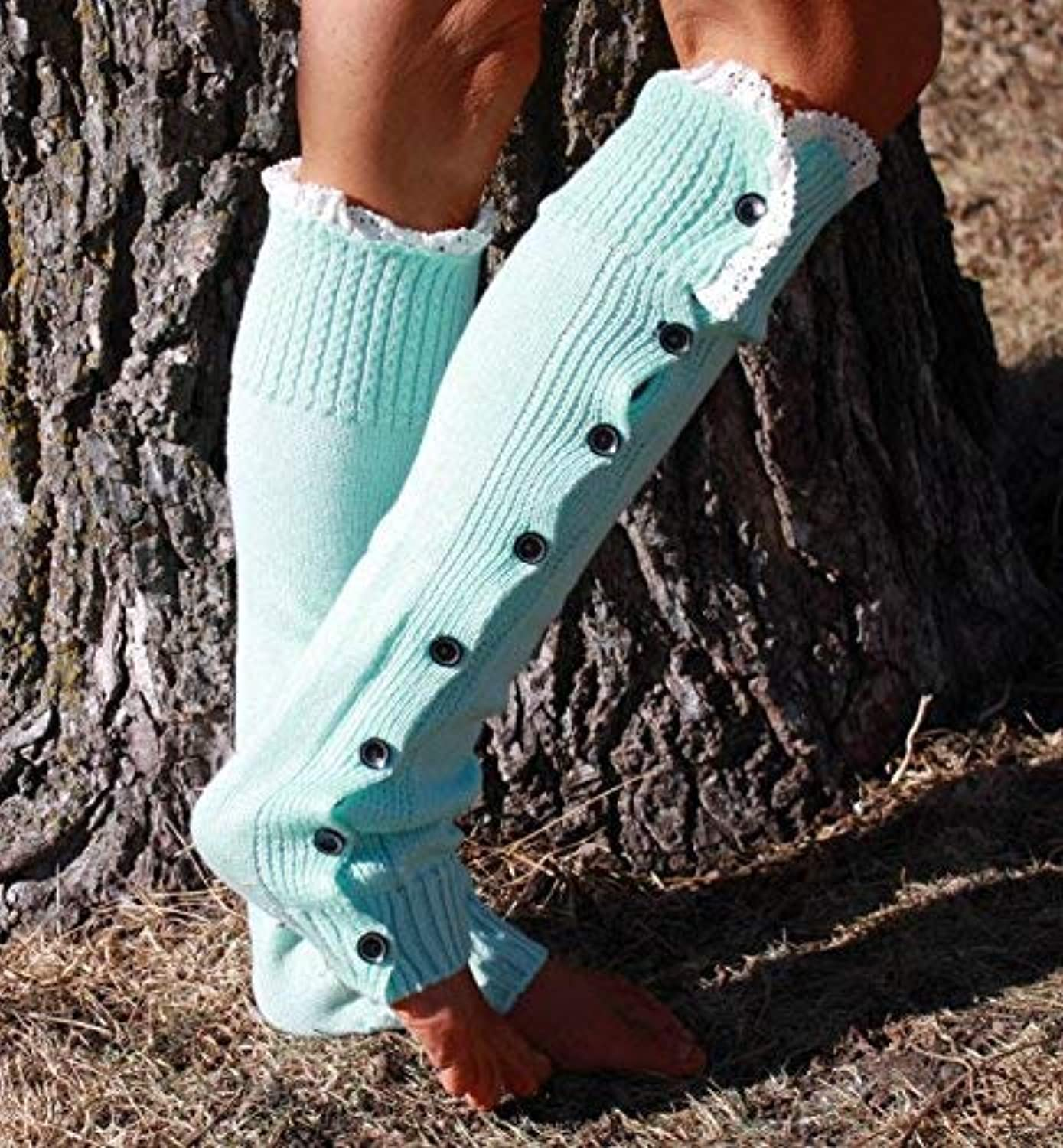 Christmas Button lace lace Over The Knee Boots Set Wool Knit Foot Cover Socks Set 7 colors (color   Light Green)