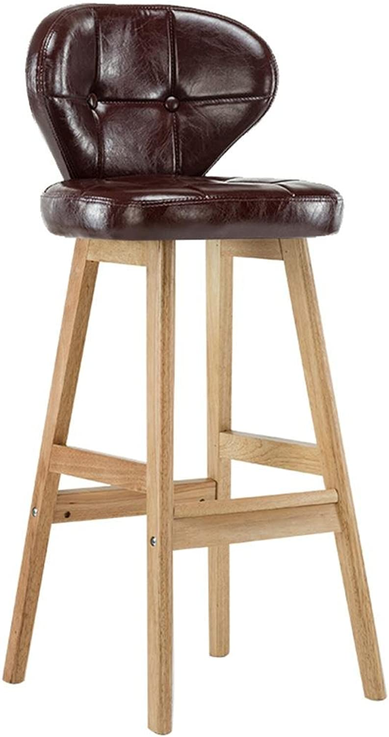 Lh yu Retro Kitchen stools Solid Wood high Stools PU Leather Seat Breakfast BarSolid Wood Support Height Kitchen Counter Bar More Comfortable