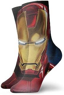 Bigtige, Calcetines para hombre Calcetines de compresión de pintura Iron Man Calcetines de vestir con cojines frescos