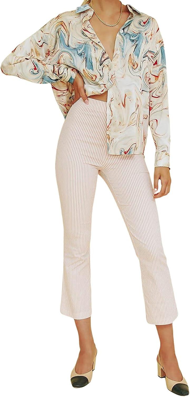 Women Chiffon Button Down Shirt Casual Print Long Tunic Blouse Loose Vintage V Neck Lapel Collar Button Up Top Shirt