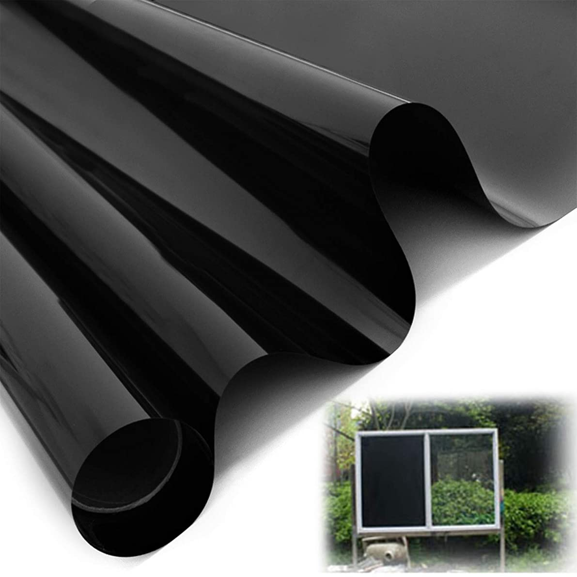 Blackout Reflective Window Film - 100% Light Blocking Static Cling, Heat Control Anti UV Window Tint for Privacy, Home Security, Heat Rejection and Day Sleeping (78.5 x 15.5 inch)