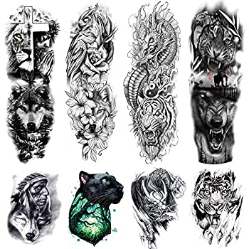 Kotbs 8 Sheets Temporary Tattoo Sleeve for Men Adults Waterproof Fake Tattoo Sleeves for Women Dragon Tiger Wolf Long Full Sleeve Tattoos Temporary Stickers