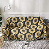 Sunflower Sofa Cover Blanket American Style Double-Sides Pattern Cotton Knitted Bed Couch Throw Three Layers Thicken Living Room Bedroom Decor Travel Soft Cozy Blanket(70x90 Inches)
