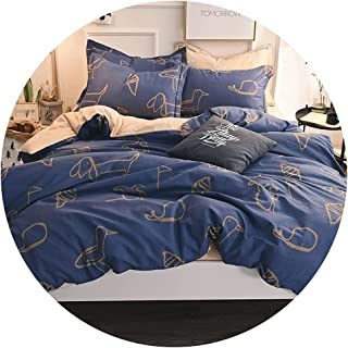 طقم سرير من أربع قطع من القطن المصقول طقم سرير من القطن لخريف/شتاء غطاء لحاف ملاءة سرير سميكة طقم من أربع قطع