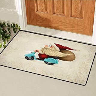 Christmas Front Door mat Carpet Old Santa Claus Delivering Presents on His Motorcycle Swirled Lines Frame Machine Washable Door mat W23.6 x L35.4 Inch Red Tan Light Blue