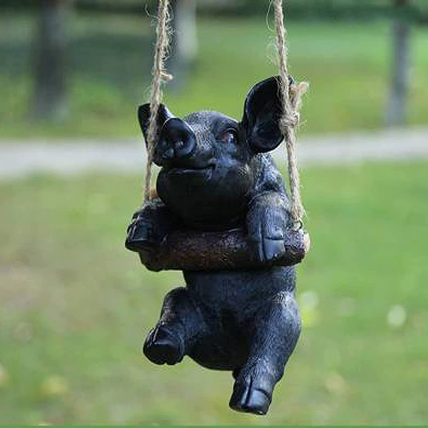 rywfine Amusing Popular products low-pricing Pig Swinging Statue Large N Garden Figurines