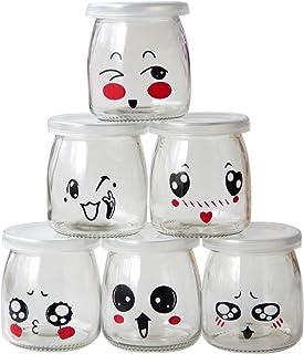 comprar comparacion JXY Botes de Yogurt con Tapa, 200 ml, diseño de emoticonos, 6 Unidades