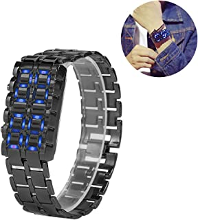 Fashion Men's Novelty Lava Watch, Electronic Couple Digital LED Lighting Steel Bracelet Watches(#1)